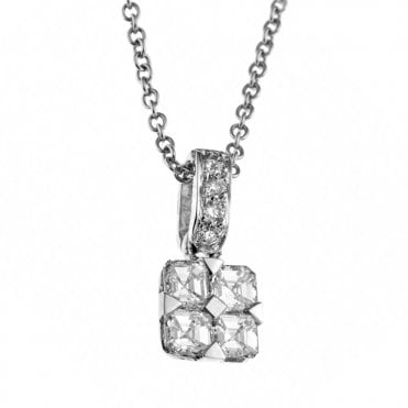 18ct White Gold Asscher Cut Diamond Necklace