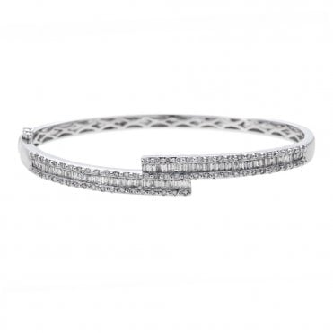 18ct White Gold Baguette & Brilliant Cut Diamond Crossover Bangle