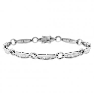 18ct White Gold Baguette Cut Diamond Bracelet
