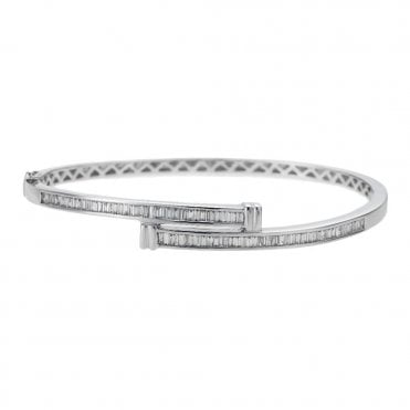 18ct White Gold Baguette Cut Diamond Crossover Bangle