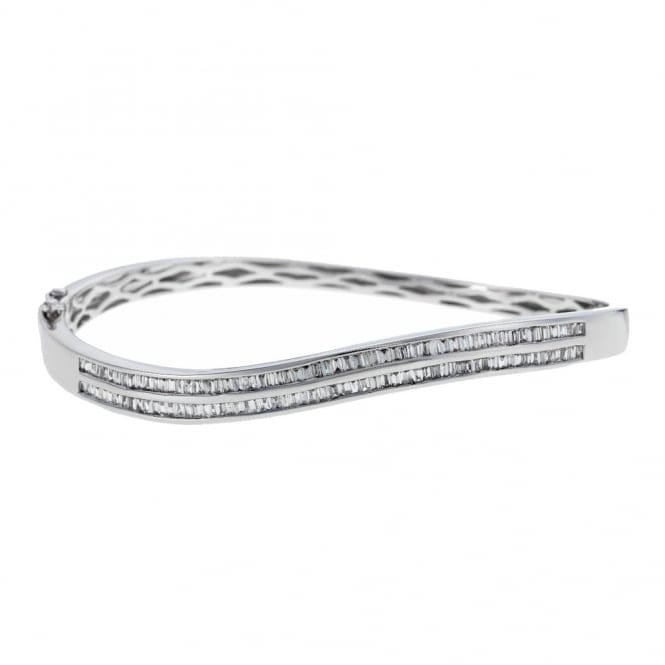 Berry's 18ct White Gold Baguette Cut Diamond Curved Bangle