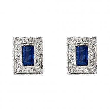 Berry's 18ct White Gold Baguette Sapphire And Diamond Set Stud Earrings