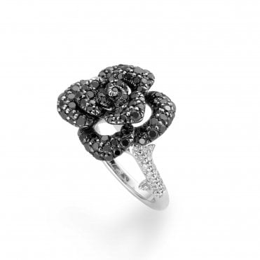 18ct White Gold Black and White Diamond Flower Ring