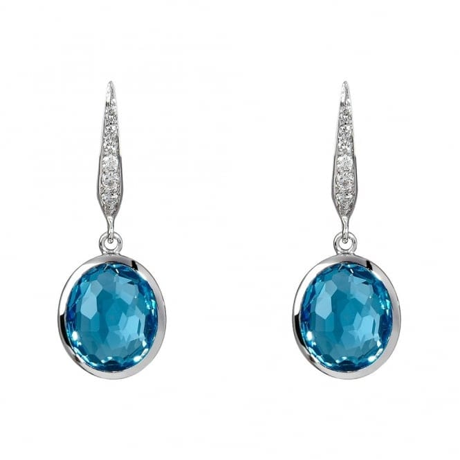 Berry's 18ct White Gold Blue Topaz And Diamond Earrings