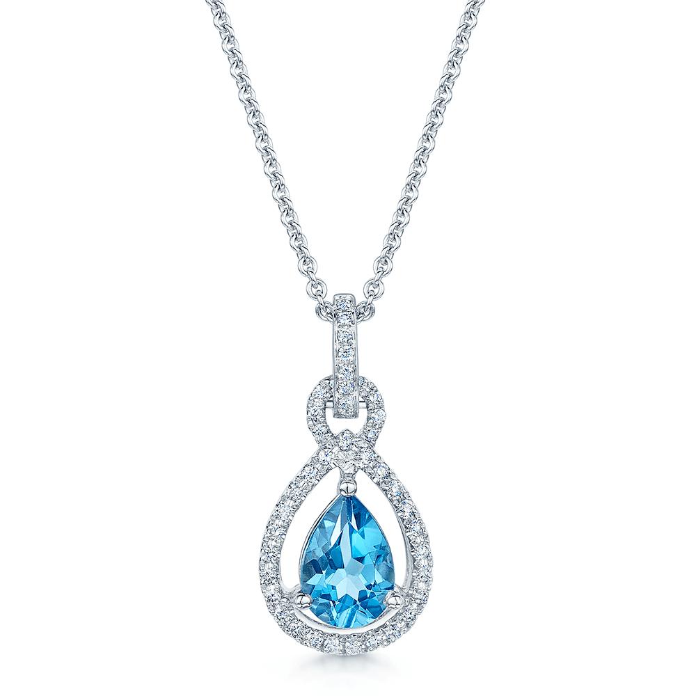 18ct white gold blue topaz diamond pendant aloadofball Image collections