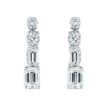 18ct White Gold Brilliant and Emerald Cut Diamond Drop Earrings