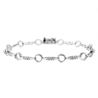 18ct White Gold Brilliant Cut Diamond Bracelet