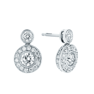 18ct White Gold Brilliant Cut Diamond Circular Earrings