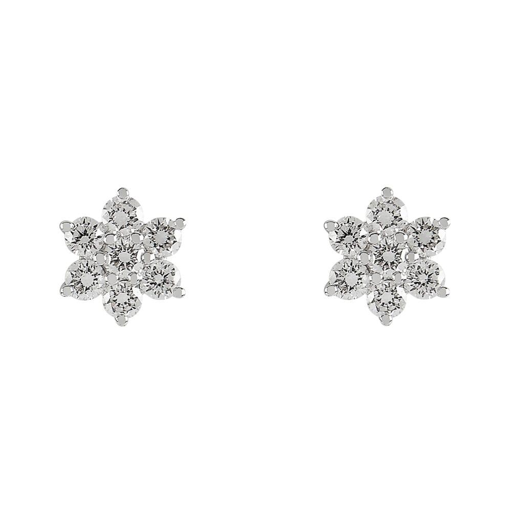 18ct White Gold Brilliant Cut Diamond Flower Cluster Earrings