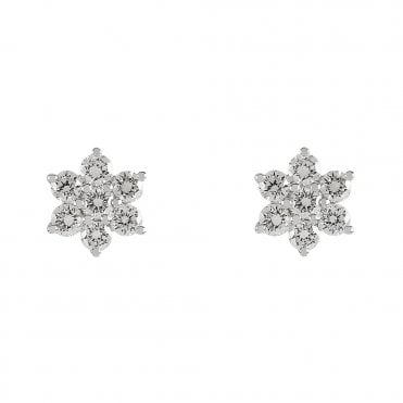 18ct White Gold Brilliant Cut Diamond Flower Cluster Earrings