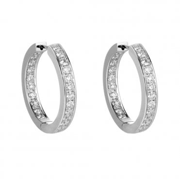 18ct White Gold Brilliant Cut Diamond Hoop Earrings