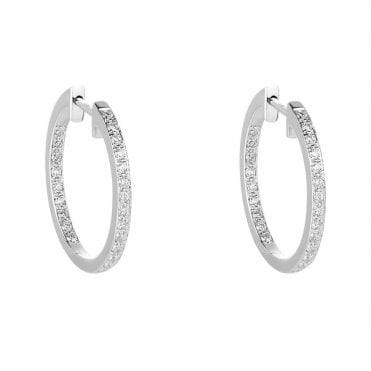 18ct White Gold Brilliant Cut Diamond Pave Set Hoop Earrings