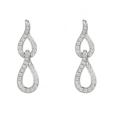 18ct White Gold Brilliant Cut Interlocking Diamond Earrings
