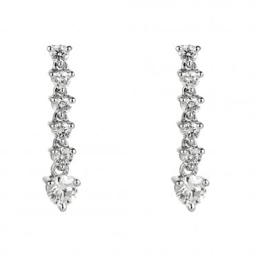 18ct White Gold Brilliant Cut Line Diamond Drop Earrings