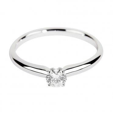 18ct White Gold Brilliant Cut Solitaire Diamond Engagement Ring