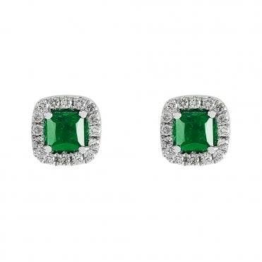 18ct White Gold Cabachon Cut Emerald & Diamond Surround Earrings
