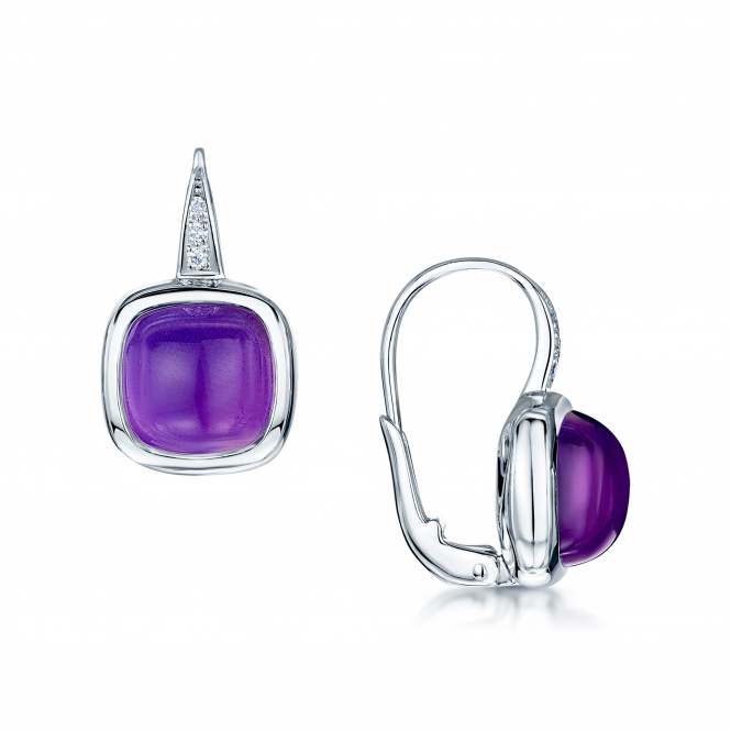 Berry's 18ct White Gold Cabochon Amethyst & Diamond Hook Drop Earrings