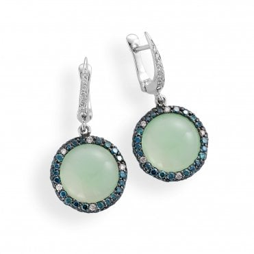 18ct White Gold Cabochon Olive Chalcedony & Diamond Set Drop Earrings