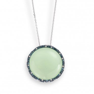 18ct White Gold Cabochon Olive Chalcedony & Diamond Set Necklace