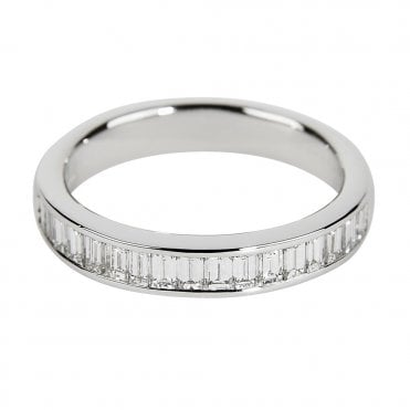 Berry's 18ct White Gold Channel Set Baguette Cut Diamond Eternity Ring