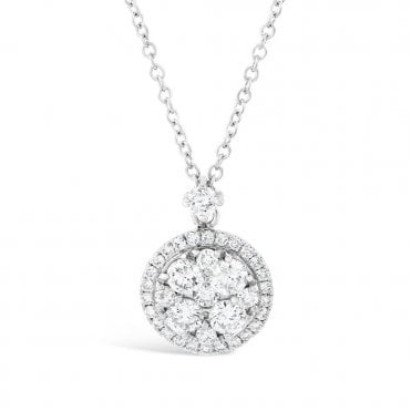 Berry's 18ct White Gold Circular Diamond Halo Necklace