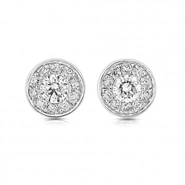 18ct White Gold Circular Diamond Set Cluster Stud Earrings