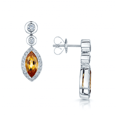 18ct White Gold Citrine & Diamond Drop Earrings