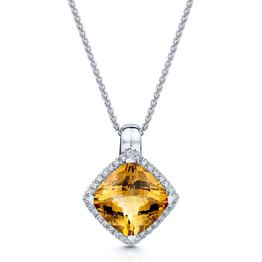 18ct white gold citrine diamond pendant aloadofball Image collections