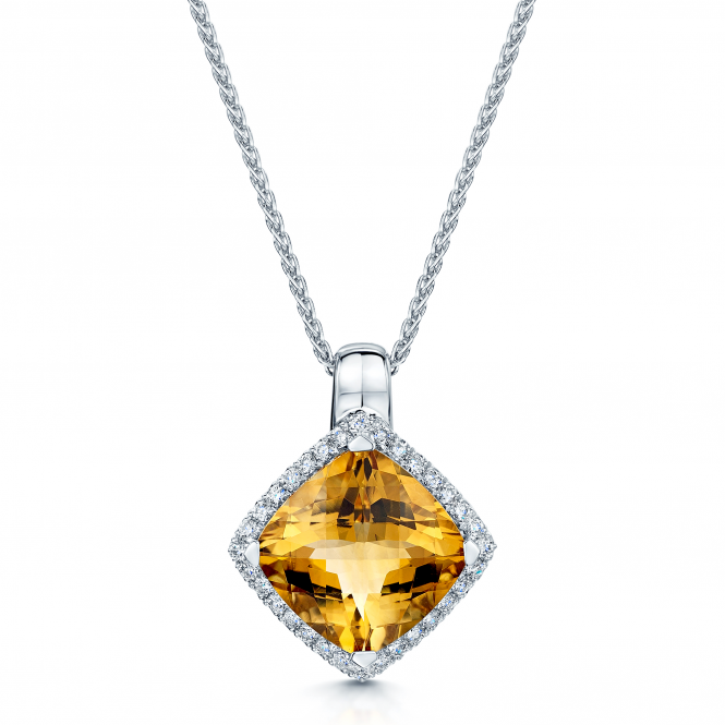 Berry's 18ct White Gold Citrine & Diamond Pendant