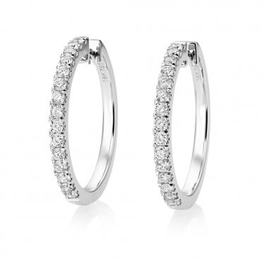 18ct White Gold Claw Set Diamond Half Hoop Earrings