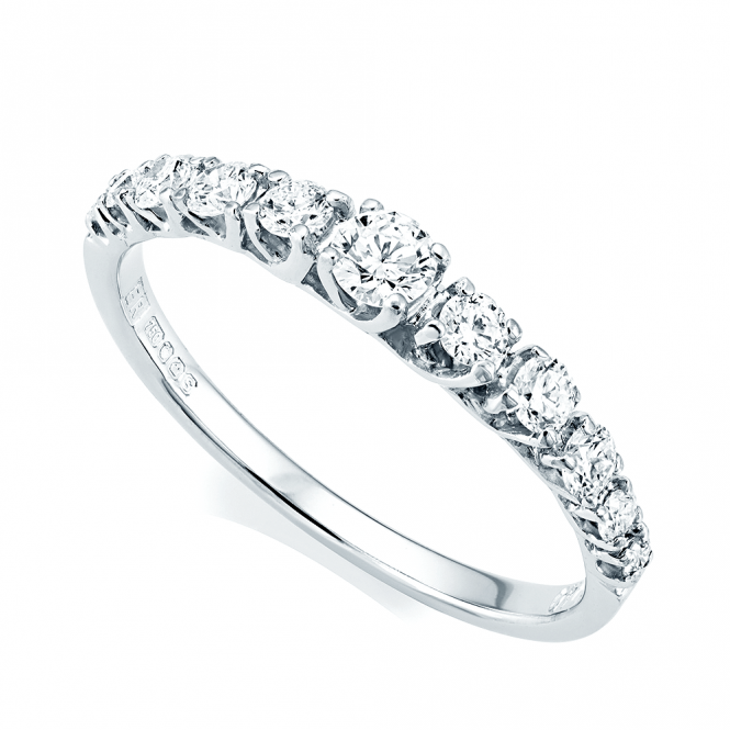 Berry's 18ct White Gold Claw Set Graduating Diamond Half Eternity Ring