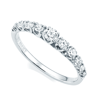 18ct White Gold Claw Set Graduating Diamond Half Eternity Ring