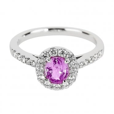 18ct White Gold Claw Set Pink Sapphire & Diamond Surround Dress Ring