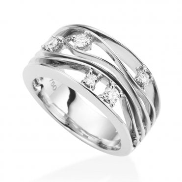 18ct White Gold Curved Five-Row Diamond Set Dress Ring