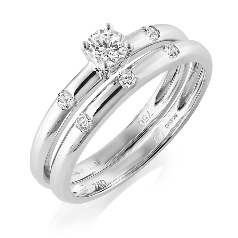 18ct White Gold Diamond Bridal Ring Set From Berry's Jewellers