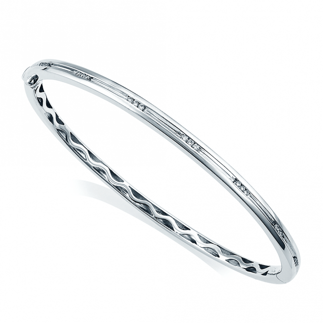 Berry's 18ct White Gold Diamond Channel Set Hinged Bangle