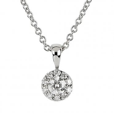 18ct White Gold Diamond Circular Cluster Pendant