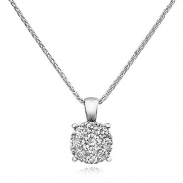 Berry's 18ct White Gold Diamond Cluster Necklace Pendant