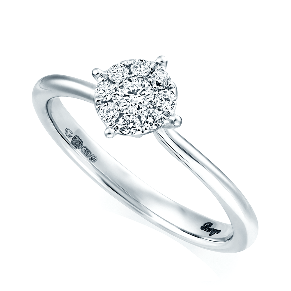 18ct White Gold 0.20 Ct Diamond Cluster Ring From Berry's