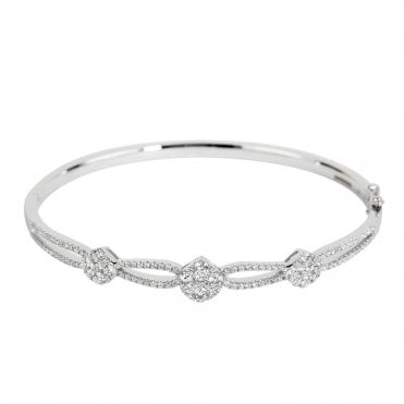18ct White Gold Diamond Cluster & Set Crossover Bangle