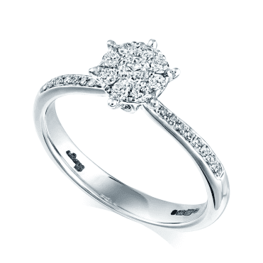 18ct White Gold Diamond Cluster Set Solitaire Engagement Ring