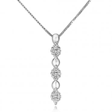 18ct White Gold Diamond Cluster Three Part Drop Pendant