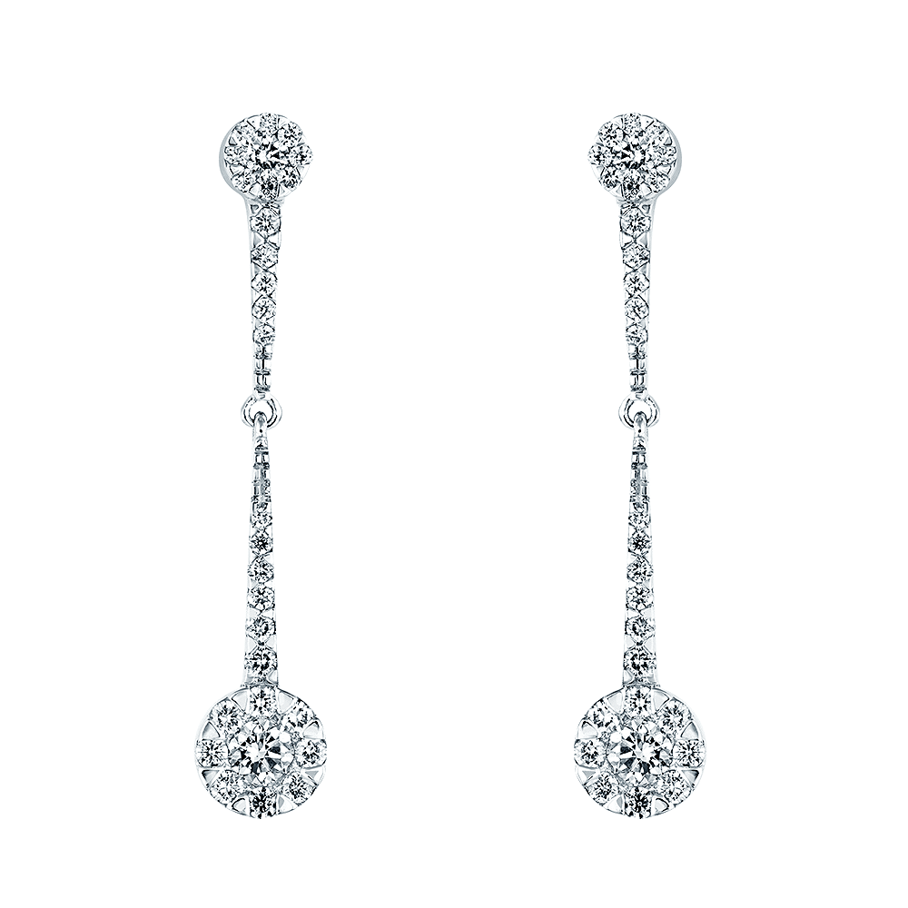 Berry s 18ct White Gold Diamond Double Cluster Long Drop Earrings 6a07dd5a2c41