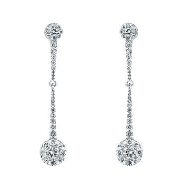 18ct White Gold Diamond Double Cluster Long Drop Earrings