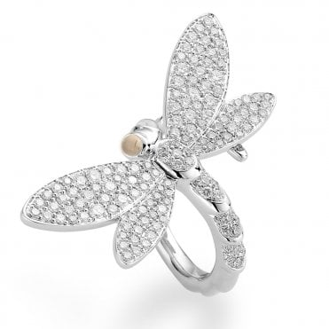 Berry's 18ct White Gold Diamond Dragonfly Ring