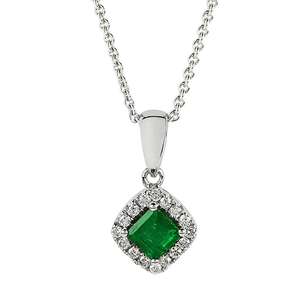 Diamond emerald pendant from berrys jewellers 18ct white gold diamond amp emerald pendant mozeypictures Choice Image