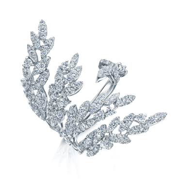 18ct White Gold Diamond Feather Dress Ring