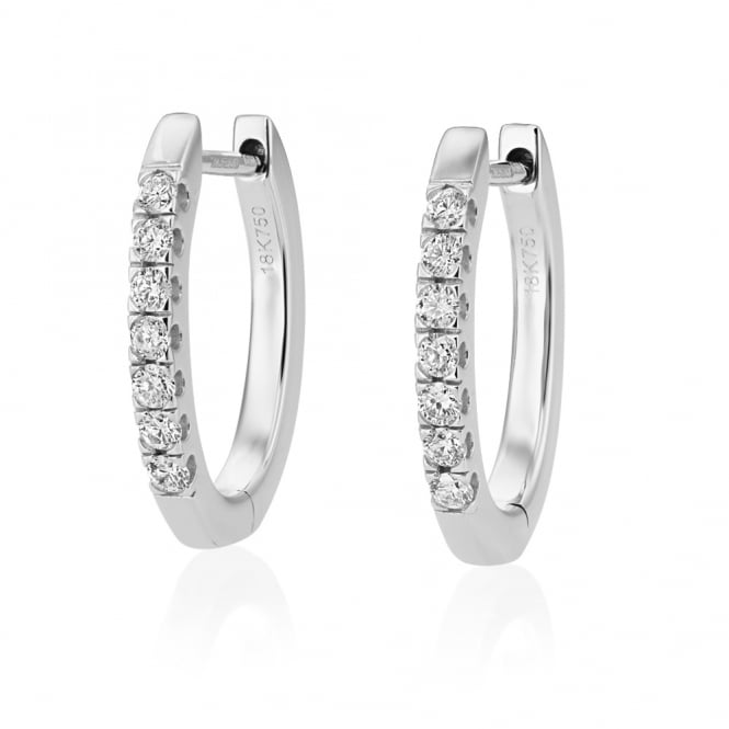 Berry's 18ct White Gold Diamond Half Hoop Earrings