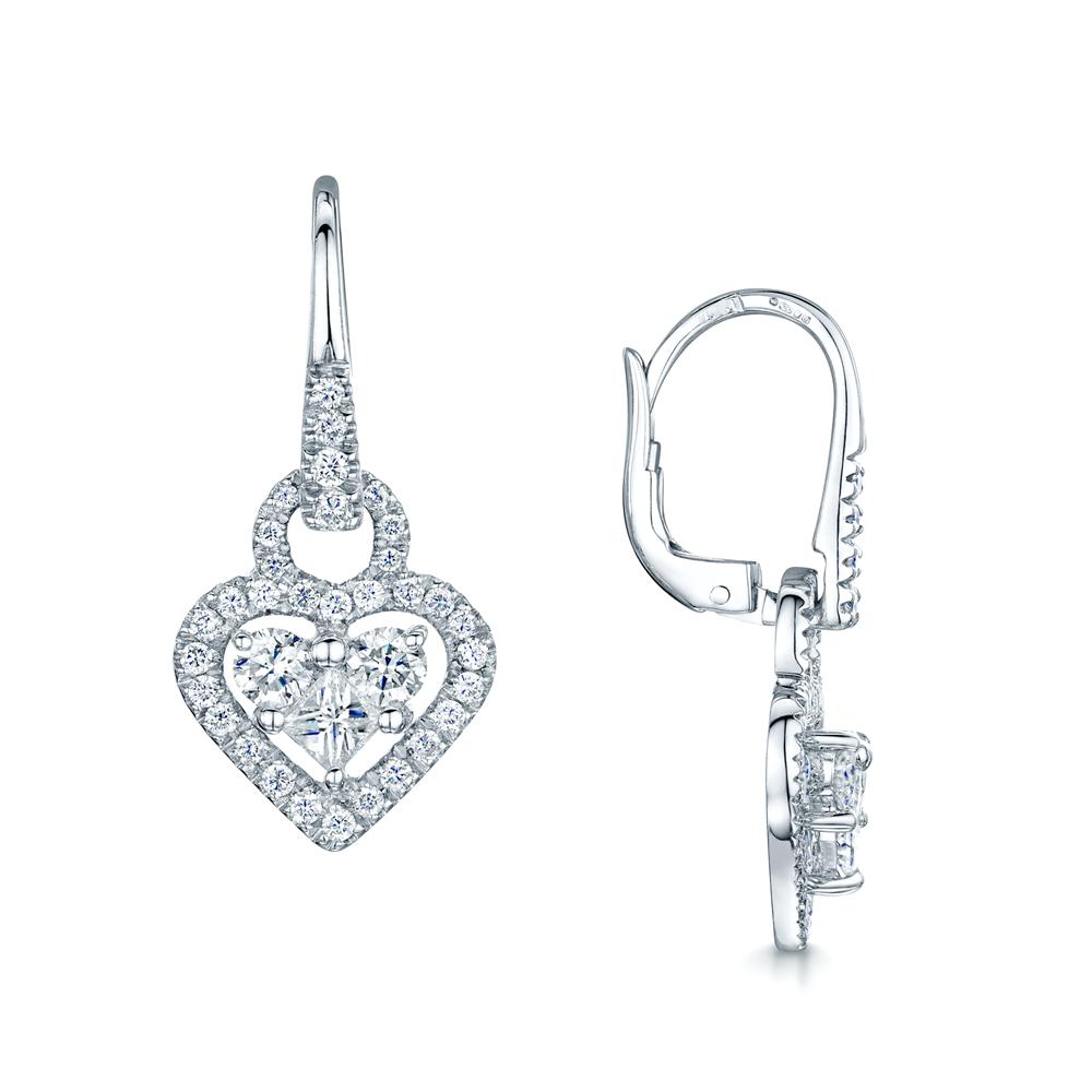 Berry S 18ct White Gold Diamond Heart Shape Drop Earrings