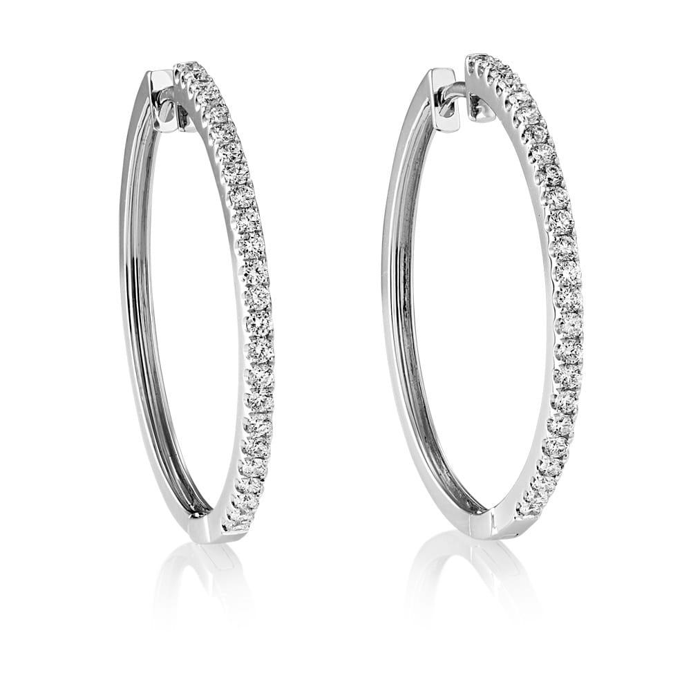 Berry S 18ct White Gold Diamond Hoop Earrings Mbme00621w2rd